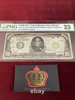 1000 DOLLAR BILL ONE THOUSAND FEDERAL RESERVE NOTE Chicago PMG 25 Light Green $
