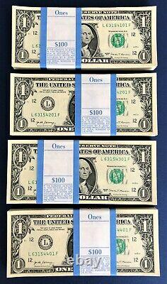 100 $1 Bills New One Dollar Money L/F Pack 2017 Collectible Cash Currency