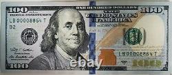 $100 One Hundred Dollar Bill 00008864 Low Serial # Anniversary / Birthday Note