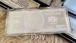 $100 One Hundred Dollar Quarter Pound Silver Note bill. 999 pure 4oz. Authentic