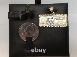 10K SOLID YELLOW GOLD One Hundred Dollar Pendant -$100 Bill Money charm 3.3grams