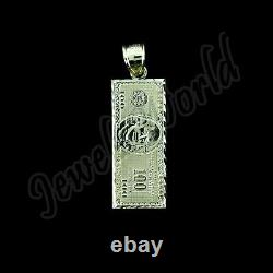 10K Solid Yellow Gold $100 One Hundred Dollar Bill Pendant With 2.5mm Rope Chain