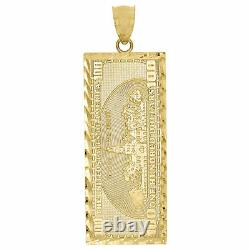 10K Yellow Gold $100 One Hundred Dollar Bill Currency Diamond Cut 1.85 Pendant