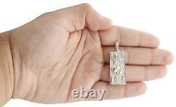10K Yellow Gold Diamond $100 One Hundred Dollar Bill Pendant 1.6 Charm 0.45 CT