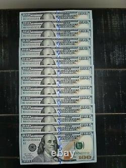 14 One Hundred Dollar Bills NEW $100 US Currency Sequential Notes