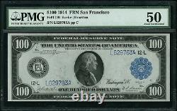 1914 $100 One Hundred Dollar San Fransisco Federal Res. Note PMG AU 50 Fr#1130