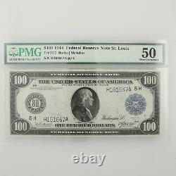 1914 PMG50 $100 Federal Reserve Note St. Louis One Hundred Dollar US Large Bill