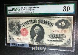 1917 One Dollar Star Note Elliott/burke Pmg 30 Nice Note