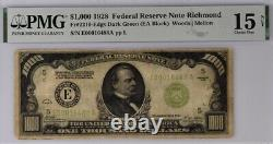 1928 Richmond $1000 One Thousand Dollar Bill Federal Reserve Note 500 PMG 15