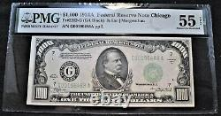 1934 A $1000 PMG AU 55 EPQ Federal Reserve Note Chicago 2212 One Thousand Dollar