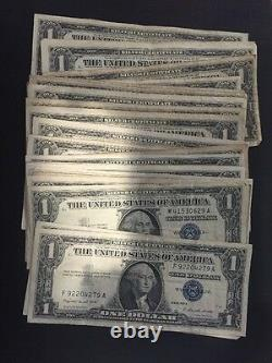 1935 & 1957 One Dollar Bills Clean Circulated Silver Certificate Note Lot of 50