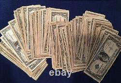 1957 Well Circulated One Dollar Silver Certificate Bills Note Lot of 50