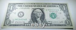 1969 Offset Printing Transfer Error $1 One Dollar Federal Reserve Currency Note