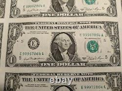 1981 Series $1 One Dollar Bill US Currency Sheet 32 Notes Uncut Uncirculated #3