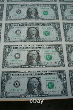 $1 Series A 2003 Uncut Sheet Of 32 One Dollar Bills, Rolled & In A Tube