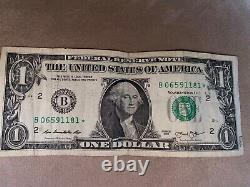 2013 $1 (ONE DOLLAR) STAR NOTE, BILL. LOW, FANCY SERIAL NUMBER LUCKY 0's