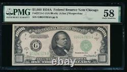 AC 1934A $1000 Chicago ONE THOUSAND DOLLAR BILL PMG 58
