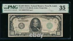 AC 1934A $1000 Saint Louis ONE THOUSAND DOLLAR BILL PMG 35