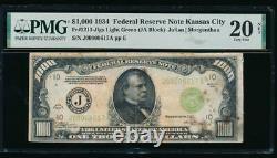 AC 1934 $1000 Kansas City LGS ONE THOUSAND DOLLAR BILL PMG 20 NET