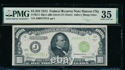 AC 1934 $1000 Kansas City LGS light green seal ONE THOUSAND DOLLAR BILL PMG 35