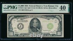 AC 1934 $1000 Kansas City LGS light green seal ONE THOUSAND DOLLAR BILL PMG 40