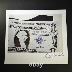 Andy Warhol, One Dollar Bill, Print from VIP Book. Hand signed by Warhol, COA
