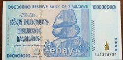 Banknote Zimbabwe One Hundred Trillion dollars. UNC. Pristine. Individual. (x1)