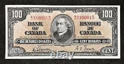 Canada 1937 $100 One Hundred Dollar Banknote, Gordon/Towers, Prefix B/J, Near AU
