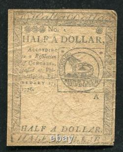 Cc-21 February 17, 1776 $1/2 One Half Dollar Continental Currency Note (d)