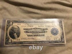 May 18 1914 federal reserve bank of philadelfia one dollar note blue seal