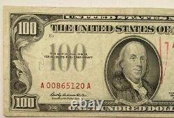 NICE 1966-A $100 ONE HUNDRED DOLLAR Red Seal United States Note 1966 A WoW