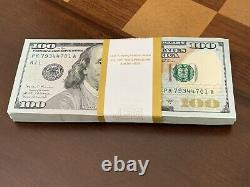New Uncirculated $100 One Hundred Dollar Bill in sequential order from BEP real