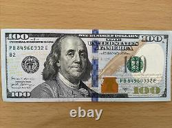 One $100 2017 A ONE HUNDRED DOLLAR NOTE CRISP UNCIRCULATED BEP PACK BRICK