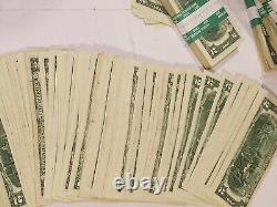 One Pack 100 Circulated Two Dollar Bills. ($200) in Federal Reserve Strap. Money