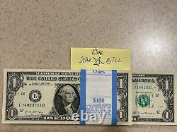 One Stack of 2017 ONE DOLLAR $1 Notes CU BEP PACK from BRICK with STAR BILL