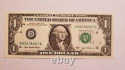 PERFECT LADDER $1 one dollar US Currency Paper Money error bill fancy serial