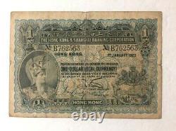 RARE Hong Kong 1925 HSBC $1 One Dollar Note
