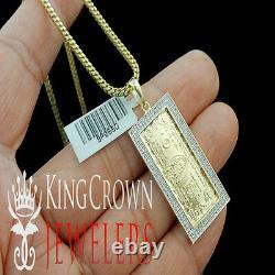 Real Diamond 10k Yellow Gold Finish One 100 Hundred Dollar Bill Money Pendant