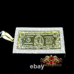 Real Diamond. 925 Sterling Silver One 100 Hundred Dollar Bill Money Pendant