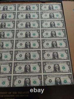 Sheet of 32 Uncut US One Dollar Bills $1 Series 1985 Currency Last One