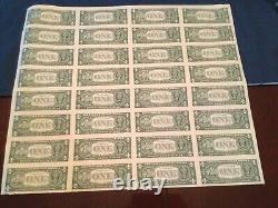 Sheet of 32 Uncut US One Dollar Bills $1 Series 2001 Currency (#3)