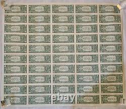 U. S. Currency Notes- Uncut Sheet-50 One Dollar Bills