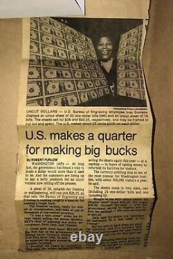 Uncut Sheet (16) $1 One Dollar Bills 1981 Framed Currency Notes Treasury