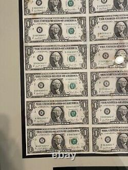 Uncut sheet (16) $1 one dollar bills -1981 framed- currency notes Treasury Rare