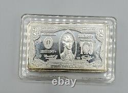 VERY RARE Sealed. 999 Fine Silver One Ounce Oz Art Bar Ingot 2 Dollar Bill