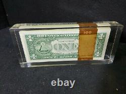 VTG 1969 ONE 1 HUNDRED 1 DOLLAR BILLS Acrylic PAPERWEIGHT Display