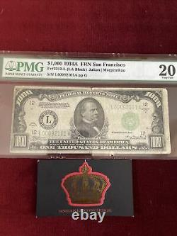 1000 Dollars Bill One Mille Réserve Fédérale Note Sf Pmg 20