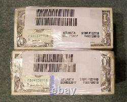 1000 Flambant Neuf Uncirculated $1 One Dollar Bills Bep Brick Bundle (2017)