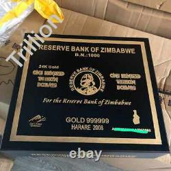 1000pc Un Billion De Dollars Zimbabwe Gold Billet De Banque Numéro De Série Consécutive Boîte