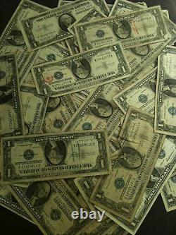 100x Pack 1935-1957 Note D'un Dollar 1 $ Certificat D'argent G-au Bill Vg Blue Seal